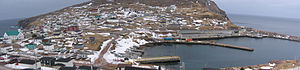 Bay de Verde - Panoramic view overlooking harbor and community, March, 2007
