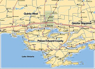 Bay of Quinte - Map of the Bay of Quinte Area (City of Belleville is shaded green)