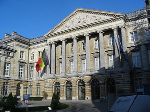 Flag of Belgium - The flag on the Belgian Senate building.