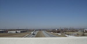 Bellefontaine, Ohio - View westward from the U.S. Route 68 bridge over U.S. Route 33 on the north side of the city, near Campbell Hill.