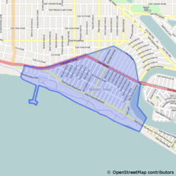 Map of Belmont Shore within Long Beach