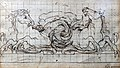 Bemberg Fondation Toulouse - Etude de deux chevaux tritons Luca Giordano Plume et encre brune, crayon noir,mis au carreau 15.5x26.5.jpg