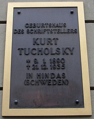 Kurt Tucholsky - Memorial plaque at his birthplace in Berlin-Moabit (Lübecker Straße 13)