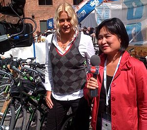 Daryl Hannah - Hannah being interviewed by Link TV during the 2008 Democratic National Convention in Denver