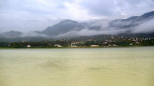 Bilaspur, Himachal Pradesh - View of bilaspur with Govind Sagrar Lake completely fill