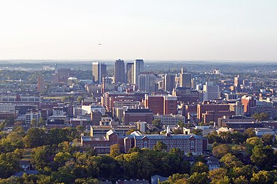 View of Birmingham looking north from the crest of Red Mountain, with Southside (including UAB and Ramsay High School) in the immediate foreground.