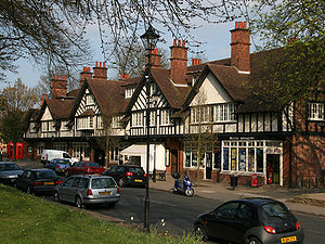 Model village - Typical local shopping parade in Bournville village