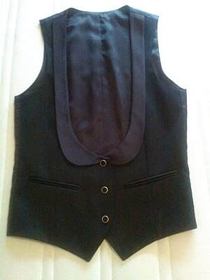 Barathea - Wool barathea evening waistcoat with silk collar and lining