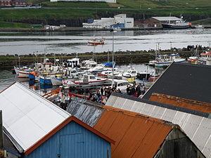 Boat Houses in Midvagur Faroe Islands Vestanstevna 2011.JPG