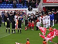 Bolton Wanderers form a guard of honour for Cardiff City 2013-04-27.jpg