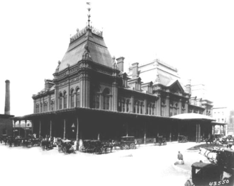 Bonaventure Station (1887–1952) - The Grand Trunk Railway's Bonaventure Station in the 1870s. The station structure roughly corresponded with Chaboillez Square in downtown Montreal. This building was heavily damaged by a fire in 1916, after which it was given a flat roof.