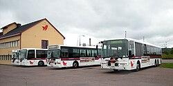 Busser ved et af Daletrafiks anlæg i Borlänge.