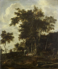 Forest landscape with a woodsman's shed