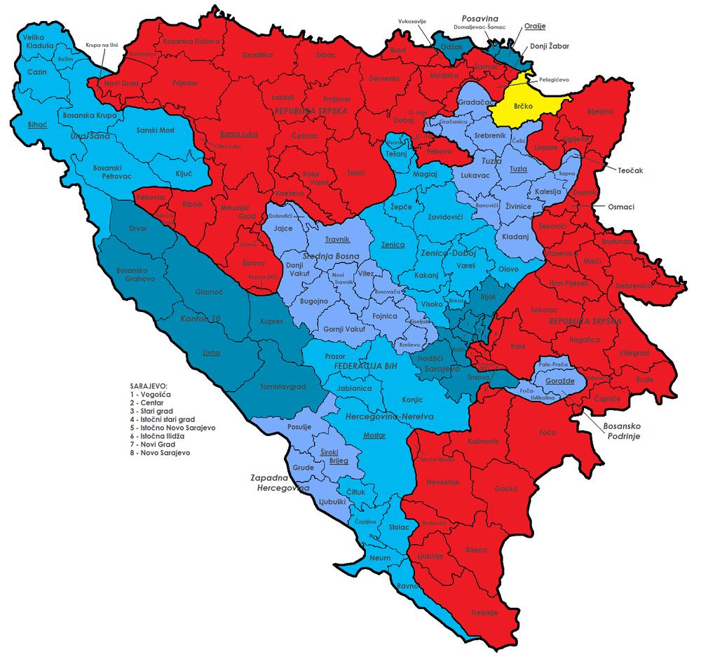 mapa bosne Općine Bosne i Hercegovine   Wikipedia mapa bosne