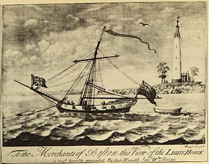 Boston Light - 1729 illustration showing signal cannon in right background
