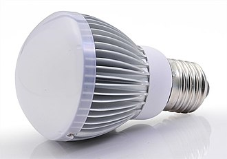 Light-emitting diode - A bulb-shaped modern retrofit LED lamp with aluminium heat sink, a light diffusing dome and E27 screw base, using a built-in power supply working on mains voltage