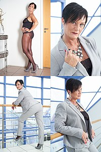 Bra shirt and tights - partly visible worn under a pant suit - composite image - Modelled by Lady Alexi.jpg