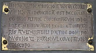 Hugh de Pateshull - Hugh de Pateshull's name is recorded on the brass plate commemorating the dedication of St Oswald's Church, Ashbourne on 24 April 1241.