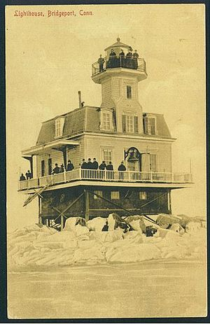 Bridgeport Harbor Light - Early picture postcard of the lighthouse