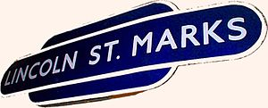 "Eastern Region of British Railways - British Railways Eastern Region ""totem"" station sign for Lincoln St Marks"
