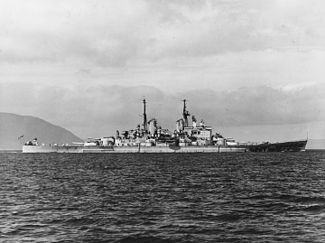 British battleship HMS Vanguard (23) underway c1947