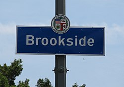 Brookside signage located at the intersection of Olympic Boulevard & Highland Avenue