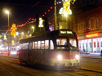 Blackpool Tramway - Brush Railcoach 623 in Mystique advert livery