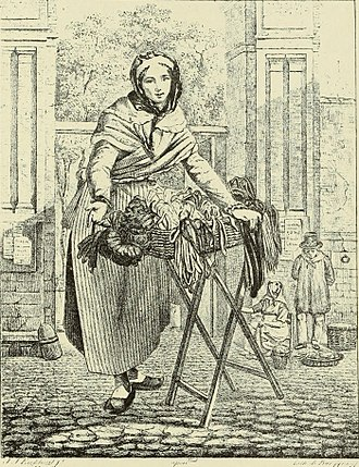 Peddler - Ribbon seller at the entrance to the Butter Market, engraving by J.J. Eeckhout, 1884