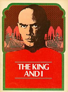 "Theatrical program cover reading ""The King and I"" dominated by the image of a middle-aged man with shaved head and a brooding expression.  Small Images representing scenes from the musical are seen behind him."
