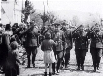 World War II in Yugoslav Macedonia - Bulgarian troops entering Bitola on April 21, 1941. In fact, they  were greeted as alleged liberators from Serbian yoke, while pro-Bulgarian feelings prevailed during the early stages of the occupation.