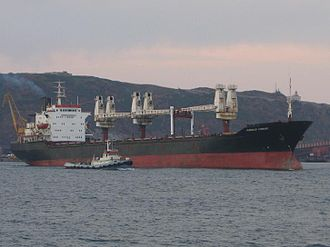 Grain trade - While once grain was sold by the sack, it is now moved in bulk in huge ships like this.