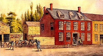 Bull's Head Tavern - A painting of the Bull's Head Tavern off of Bowery Street in Manhattan, New York, during the American Revolutionary War in 1783