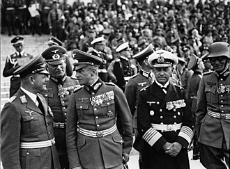 Erich Raeder - Erhard Milch, Wilhelm Keitel, Walther von Brauchitsch and Raeder at the 1938 Nuremberg Rally