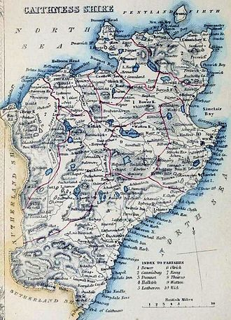 Caithness - Caithness Civil Parish map c. 1854