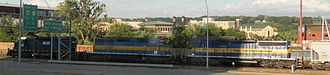 Iowa, Chicago and Eastern Railroad - A lashup of HLCX, DME and ICE locomotives at Dubuque, Iowa