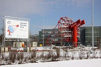 Cherenkov Telescope Array - Prototype of 12 meter CTA telescope under construction (Berlin, 2013)