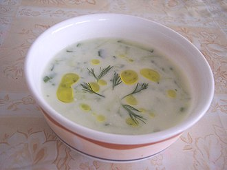 Yogurt - Cacık, a Turkish cold appetizer made from yogurt