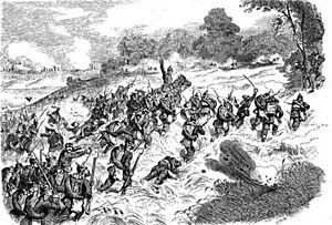 Cäsar Rüstow - Cäsar Rüstow leading an attack on the horse 1866