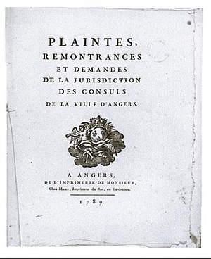 One of the cahiers de doleances written in Angers in 1789 Cahier Angers.jpg
