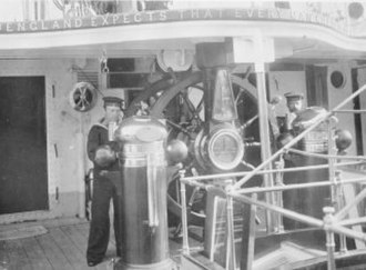 England expects that every man will do his duty - Trafalgar signal above the wheel on late-19th century cruiser ''Calliope''
