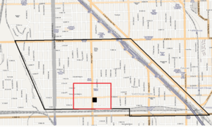 Bronzeville Children's Museum - Bronzeville Children's Museum (black dot) inside Pill Hill neighborhood (red border) and Calumet Heights (black border)