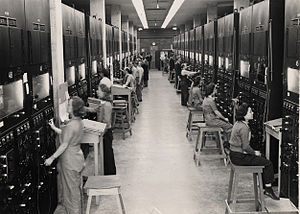 Calutron - Control panels and operators for calutrons at the Oak Ridge Y-12 Plant. The operators, mostly women, worked in shifts covering 24 hours a day.