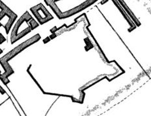 Cambridge Castle - The 17th-century bastions of the castle, shown in an 1837 plan