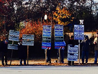 Campaign advertising - Candidate placards in New Hampshire, 2013