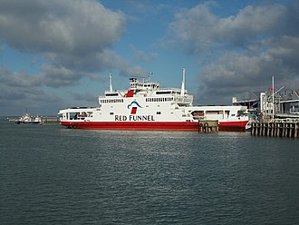 East Cowes - Red Funnel car ferry Red Falcon at East Cowes ferry terminal