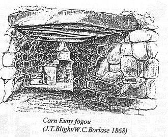 Fogou - A view inside the fogou at Carn Euny in 1868.