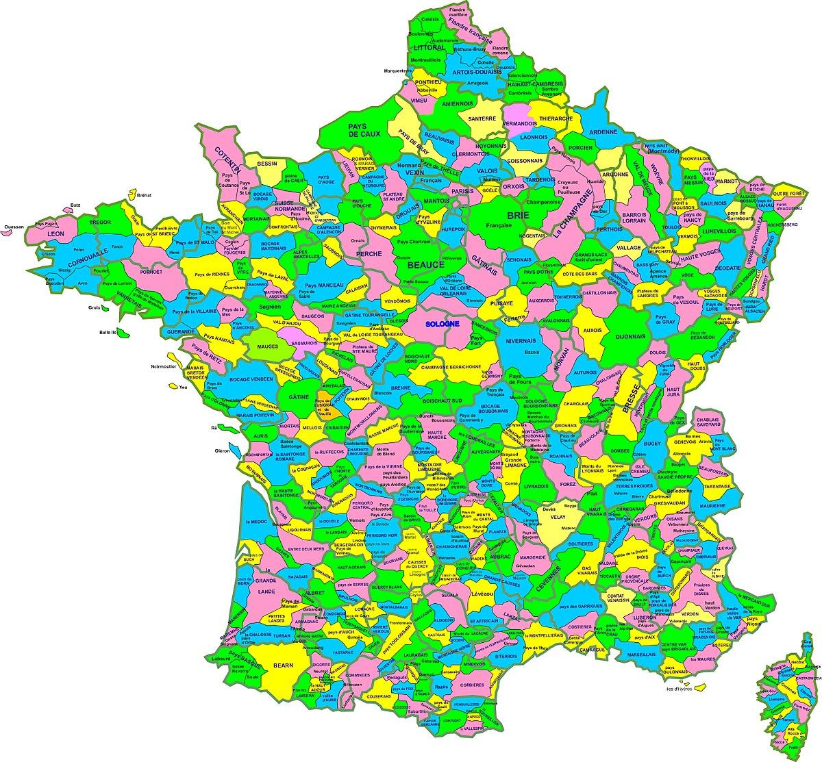 carte de france des regions File:Carte des regions naturelles de france.   Wikimedia Commons