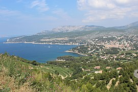 Cassis seen from the Route des Crêtes and Cap Canaille