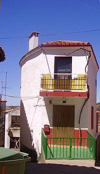 Arquitectura popular en Castañar de Ibor, provincia de Cáceres, España.
