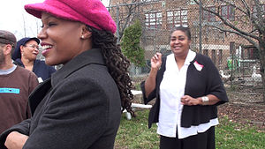 Catherine Ferguson Academy - School building in background with principal Andrews giving a tour (December 2009)